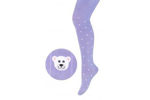 STEVEN Dievčenské pančucháče s medvedíkom - fialové