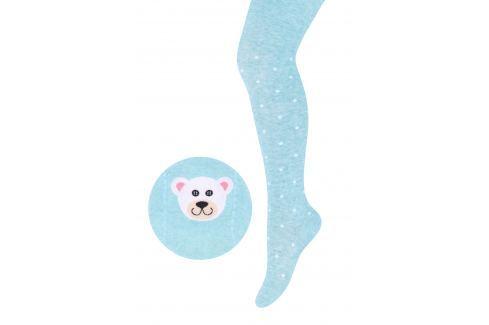 STEVEN Dievčenské pančucháče s medvedíkom - svetlo modré