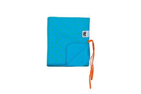 Lamama Obojstranná deka do kočíka / zavinovačky, modrá s trojuholníkmi