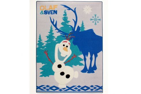 Carpet your life Detský koberec Frozen - Olaf a Sven, 95x133 cm - šedo-modrý