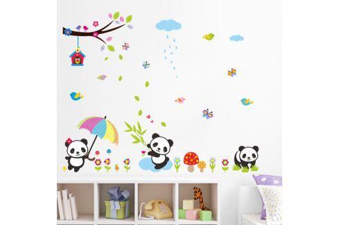 Fanastick Nástenná samolepka Pandy v daždi