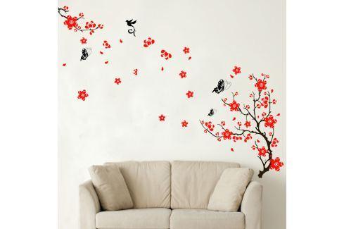 Walplus Samolepka na stenu Červené kvety, 165 x 110 cm