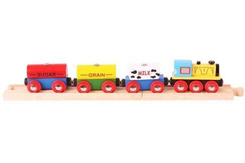 Bigjigs Rail Nákladný vlak s potravinami + 2 koľaje