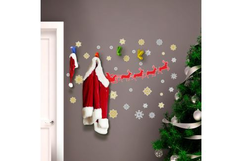 Walplus Samolepka na stenu - Santa Claus, soby a hviezdy