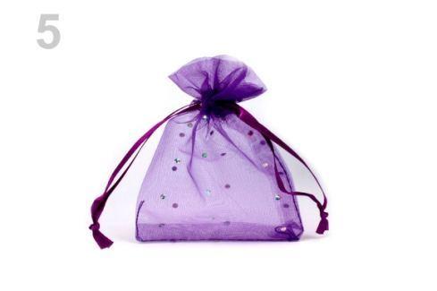 Darčekové vrecúško 9x11 cm organza s flitrami fialová purpura 10ks Stoklasa
