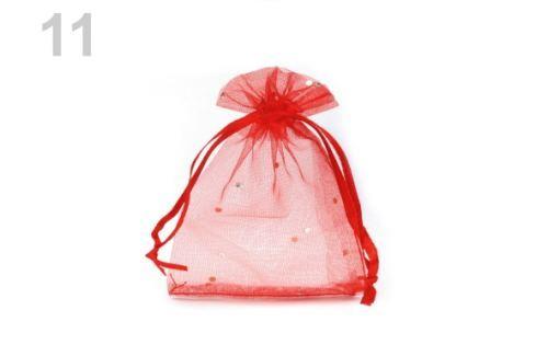 Darčekové vrecúško 9x11 cm organza s flitrami červená 10ks Stoklasa