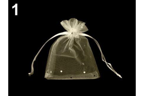 Darčekové vrecúško 9x11 cm organza s flitrami béžová najsv. 50ks Stoklasa