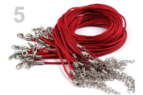 Voskovaná šnúrka s karabínkou dĺžka 45cm červená tm 1ks Stoklasa