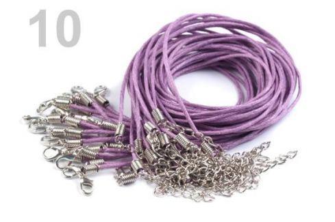Voskovaná šnúrka s karabínkou dĺžka 45cm fialová lila 1ks Stoklasa