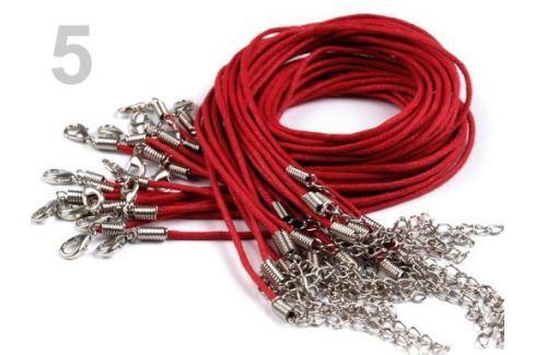 Voskovaná šnúrka s karabínkou dĺžka 45cm červená tm 300ks Stoklasa