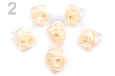 Štipec do vlasov 10x13-15 mm s ružičkou ELIS vanilková 10ks