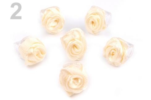 Štipec do vlasov 10x13-15 mm s ružičkou ELIS vanilková 20ks
