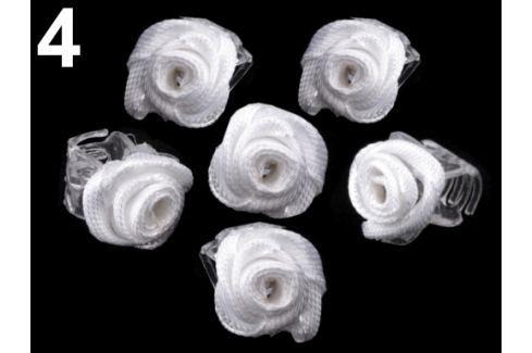 Štipec do vlasov 10x13-15 mm s ružičkou ELIS biela 40ks