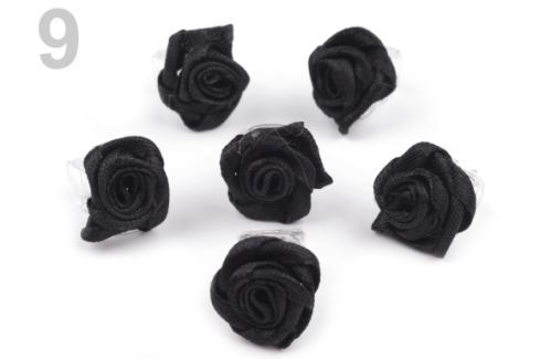 Štipec do vlasov 10x13-15 mm s ružičkou ELIS čierna 40ks