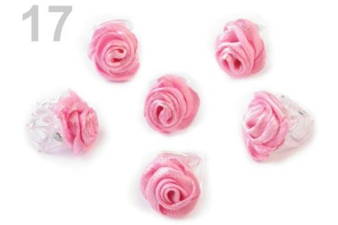 Štipec do vlasov 10x13-15 mm s ružičkou ELIS ružová str. 40ks