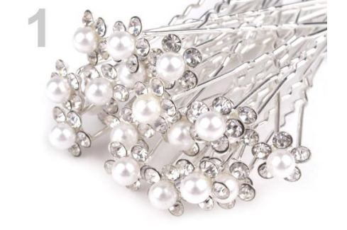 Štrasová vlásenka kvet s perlou Ø10 mm crystal 2ks Stoklasa
