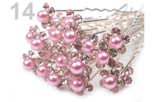 Štrasová vlásenka kvet s perlou Ø10 mm Candy Pink 20ks Stoklasa