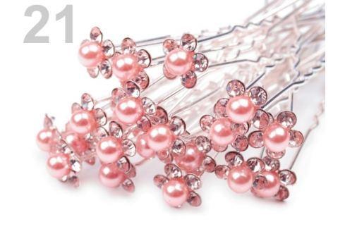 Štrasová vlásenka kvet s perlou Ø10 mm Powder Pink 20ks Stoklasa