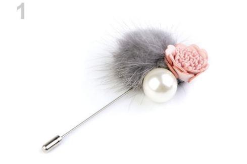 Ozdobný špendlík kožušinový brmbolec s kvetom šedá 12ks Stoklasa