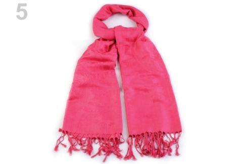 Šál typu pashmina jednofarebný so strapcami ružová 10ks Stoklasa