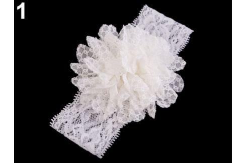 Detská elastická čelenka do vlasov, čipkovaná s kvetom krémová najsvetl 1ks Stoklasa