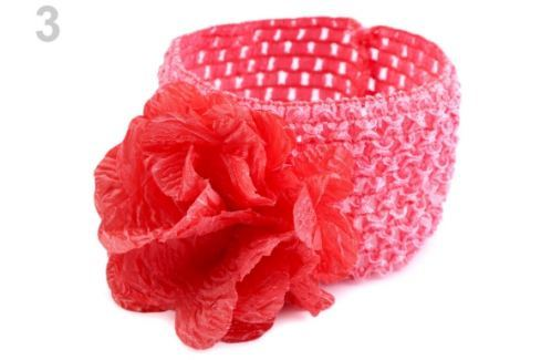 Detská elastická čelenka do vlasov s kvetom ružová tm. 1ks Stoklasa