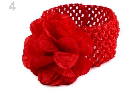 Detská elastická čelenka do vlasov s kvetom červená  1ks Stoklasa