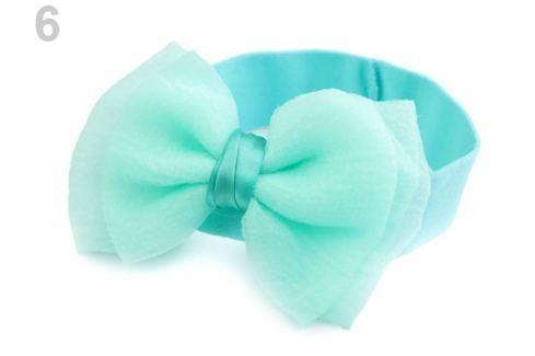 Detská elastická čelenka do vlasov s mašľou mint 1ks Stoklasa