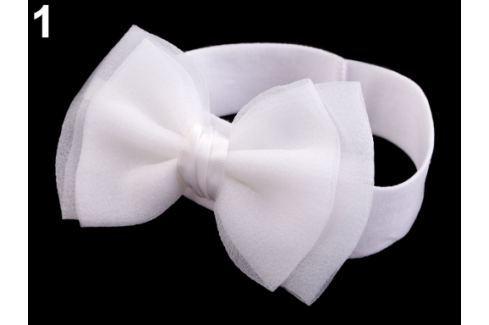 Detská elastická čelenka do vlasov s mašľou biela 36ks Stoklasa