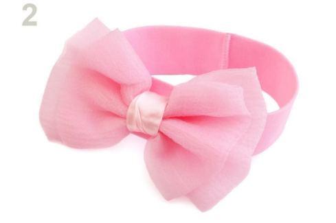 Detská elastická čelenka do vlasov s mašľou ružová sv. 36ks Stoklasa