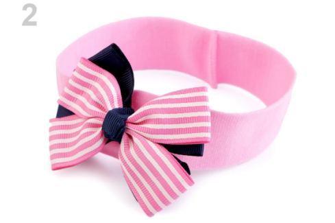 Detská elastická čelenka do vlasov námornícka ružová str. 36ks Stoklasa