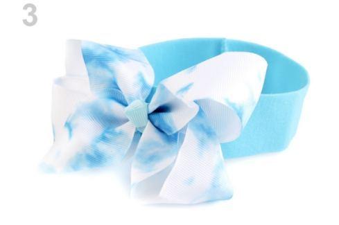 Detská elastická čelenka do vlasov s mašľou modrá azurová 1ks Stoklasa