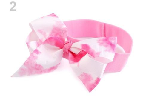Detská elastická čelenka do vlasov s mašľou ružová str. 36ks Stoklasa