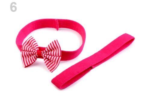 Detská elastická čelenka do vlasov, sada ružová ostrá 1ks Stoklasa