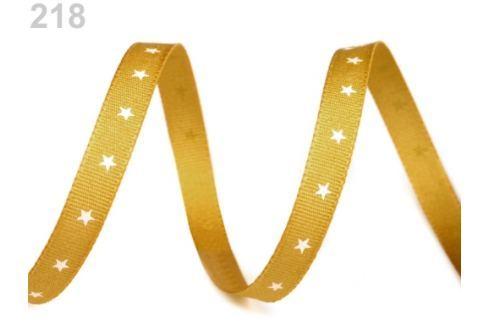 Vianočná stuha hviezdičky šírka 6 mm zlatá 200m