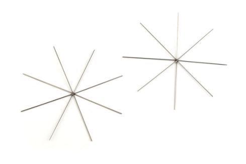 Vianočná hviezda - drôtová šablóna Ø9 cm platina 2ks