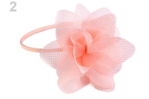 Saténová čelenka do vlasov s kvetom lososová sv. 1ks Stoklasa