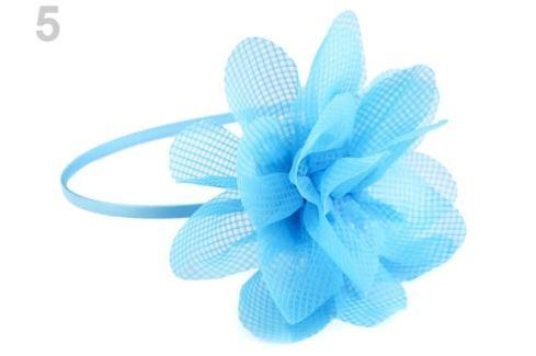 Saténová čelenka do vlasov s kvetom modrá azuro 1ks Stoklasa
