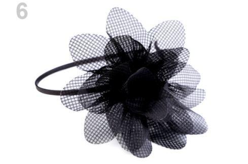 Saténová čelenka do vlasov s kvetom čierna 1ks Stoklasa