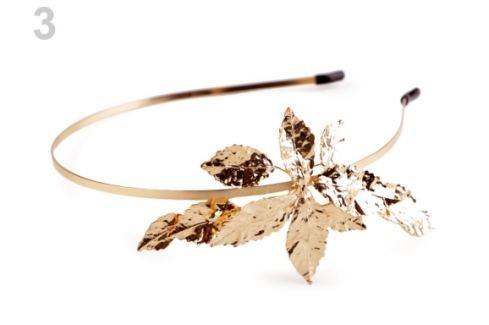 Kovová čelenka do vlasov s listami zlatá 4ks Stoklasa