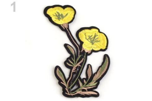 Nažehlovačka na rifle kvety bielo žltá 1ks Stoklasa