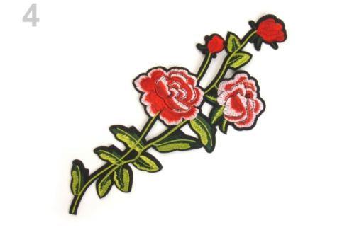 Nažehlovačka na rifle kvety / ruže červená 1ks Stoklasa