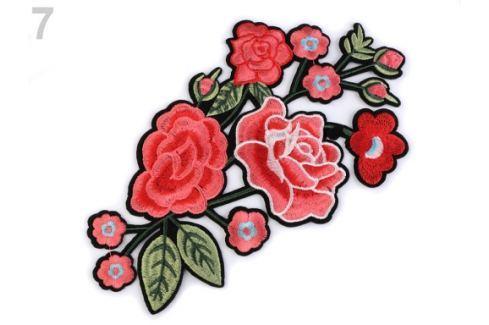 Nažehlovačka na rifle kvety / ruže červená sv. 1ks Stoklasa