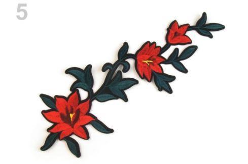 Nažehlovačka na rifle kvety / ruže červená rumelka 50ks Stoklasa