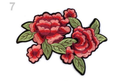 Nažehlovačka na rifle ruže / kvety červená sv. 1ks Stoklasa