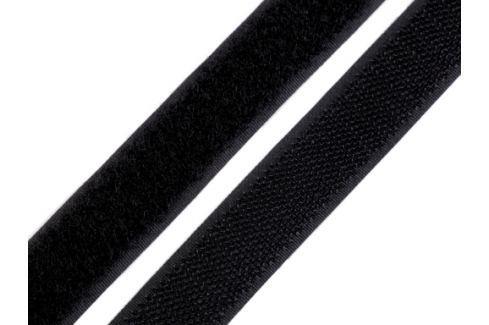 Suchý zips háčik + plyš šírka 20 mm čierny čierna 25m