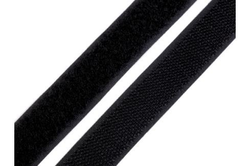 Suchý zips háčik + plyš šírka 20 mm čierny čierna 600m