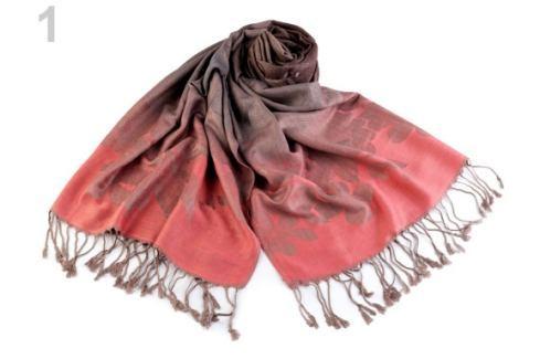 Šál typu pashmina so strapcami 70x165 cm korálová sv. 1ks Stoklasa